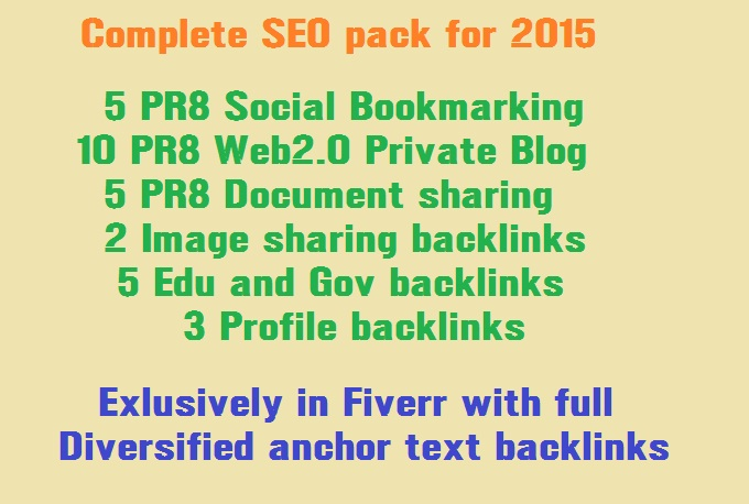 Do Complete SEO pack with Bookmarks,  PBN and PDF links