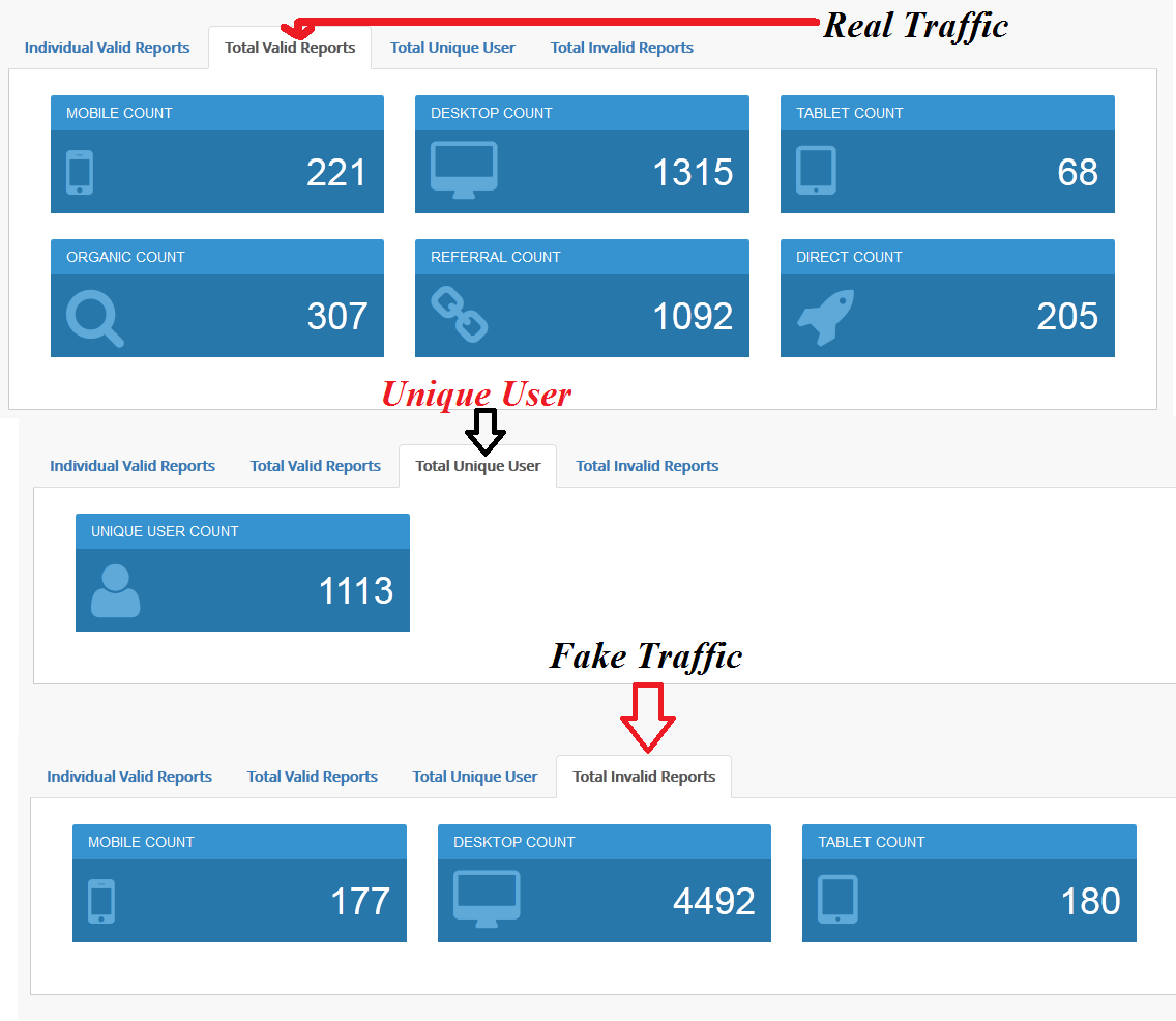 give you a tool to detect fake traffic