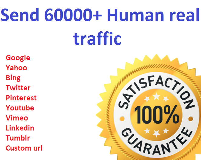 Send 60000+ Human Traffic by Google Bing Yahoo etc
