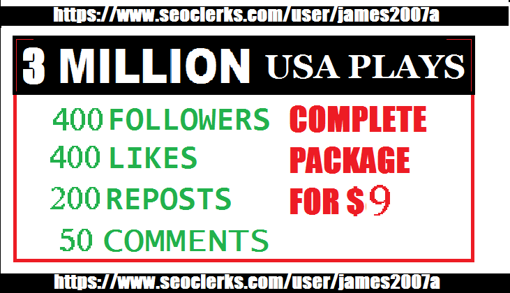 3 Million USA Plays 400 USA Followers 400 Likes 200 R...