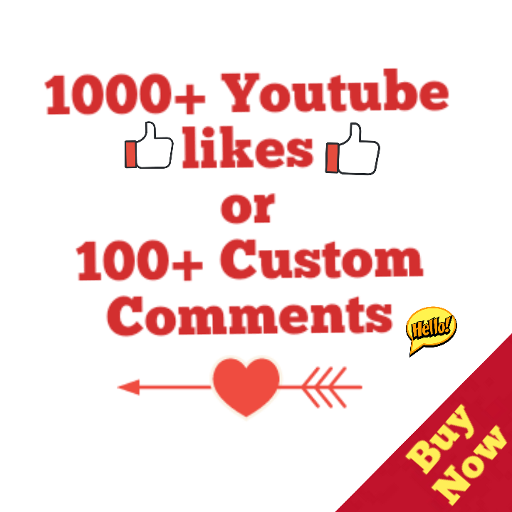1000+ Youtube Likes Or 100 Custom Comment 24-96 Hours