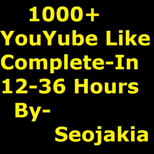 1000+ Youtube Likes 24-36 Hours