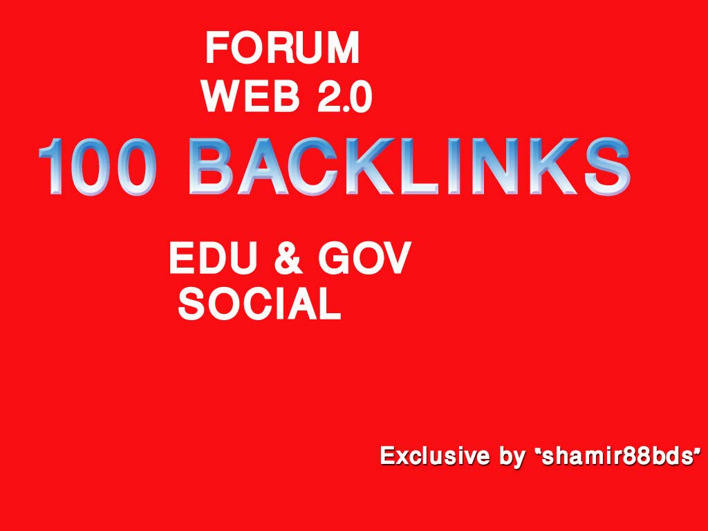 Manually 100 Forum,  Web 2.0,  Edu/Gov Profile & Social Backlinks from HIGH PR9-PR5