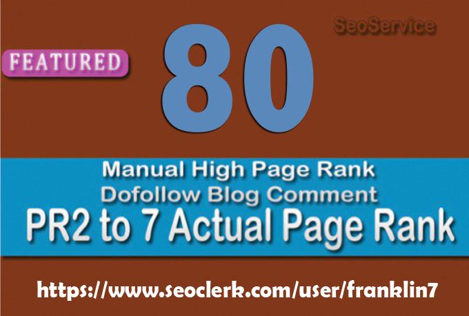 I will do professionally high Authority 80 PR 2 to7 manual Do follow Back links