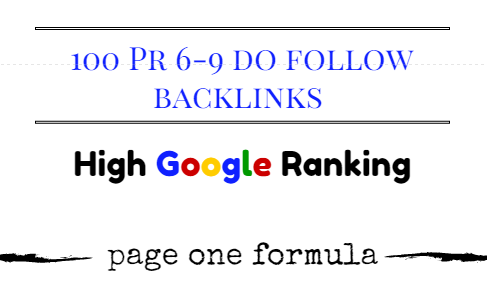 100 High quality PR6-PR9 dofollow backlinks