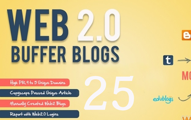 I Will Create 25 Web 2 Blogs High PR 2 To 9 Manually