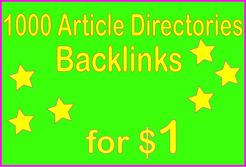 Provide 1000+ HQ PR Article Directories Backlinks