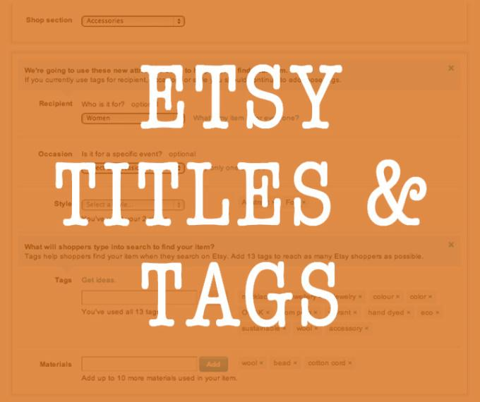 Etsy SEO Write 4 Titles and Tags