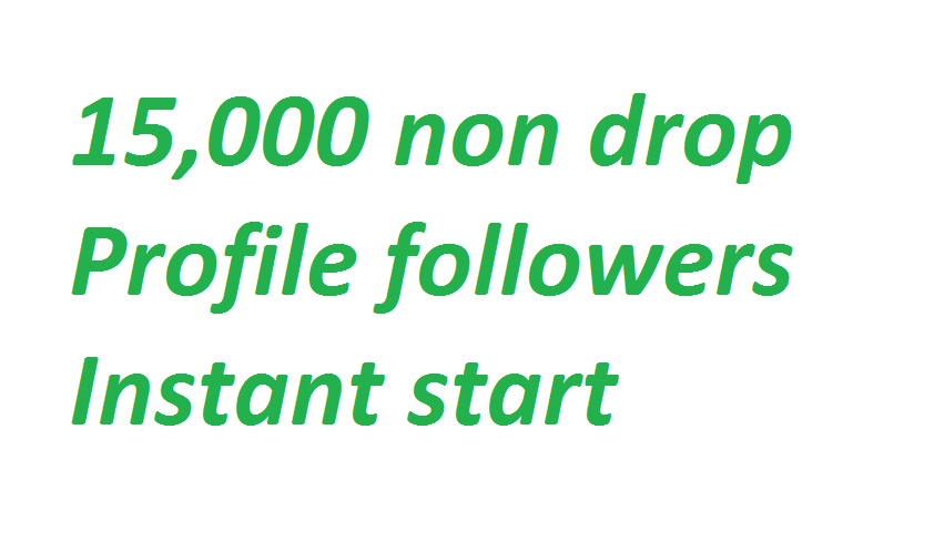 Instant 15,000 (15k) Non drop Social profile followers via real users