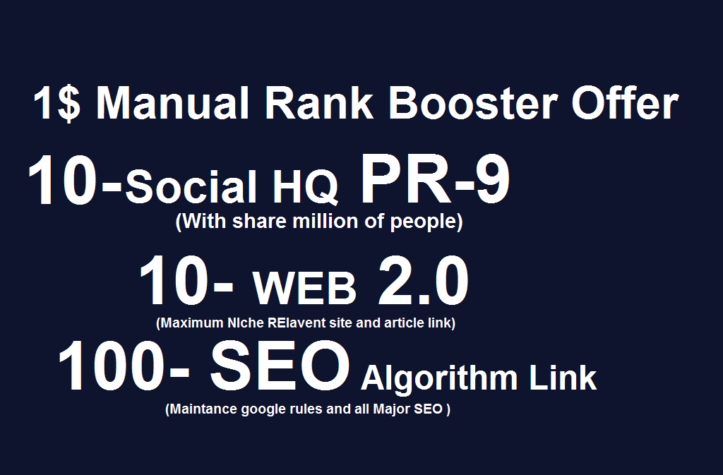 120 manual backlink with PR -9 social bookmarks for S...