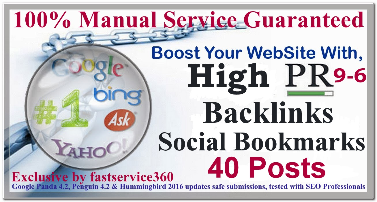 Manual Social bookmarking backlinks on top 40 sites PR 9 to 6