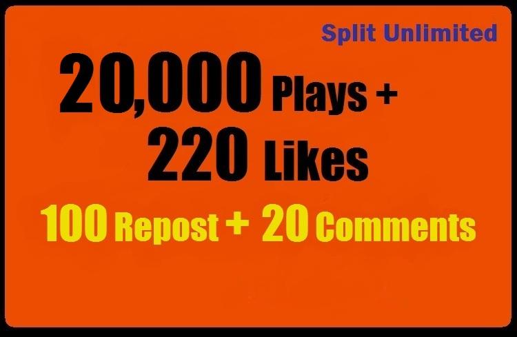 20,000 SoundCloud Plays 220 Likes 100 Repost 20 Comments