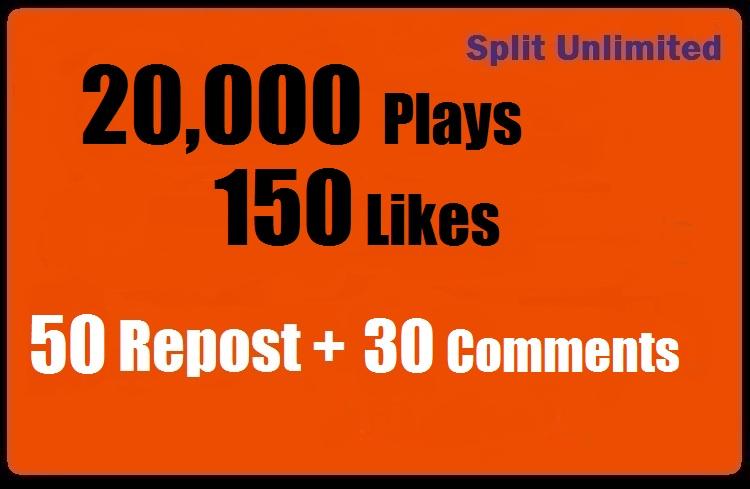 20000 SoundCloud Plays 150 Likes 50 repost 30 comments