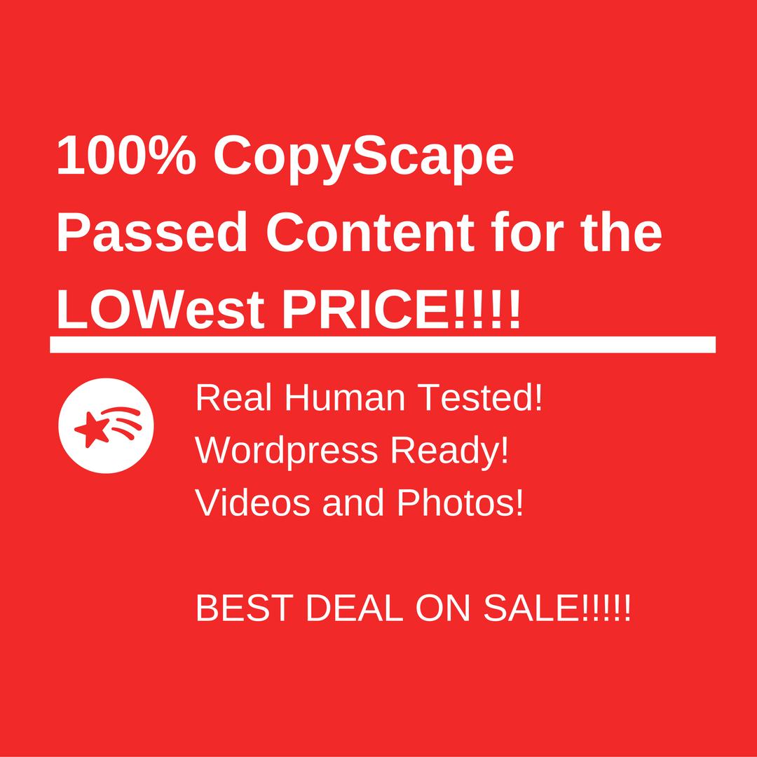 10 100 Copyscape passed Articles