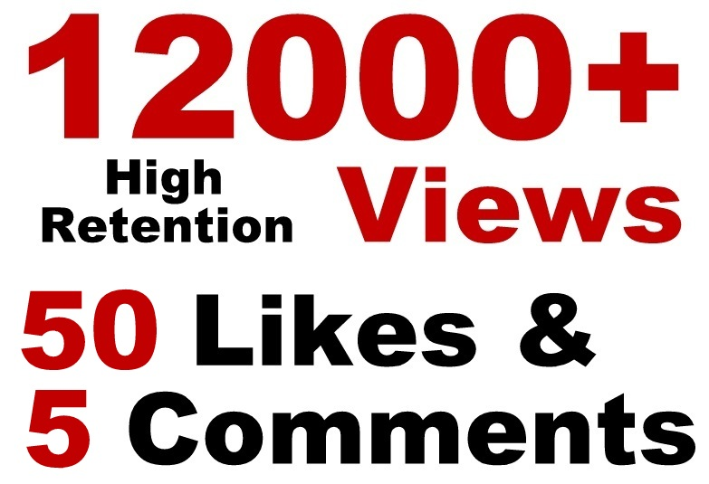 12000 HR views + 50 Likes + 5 Real comments Youtube video SeoPromotion