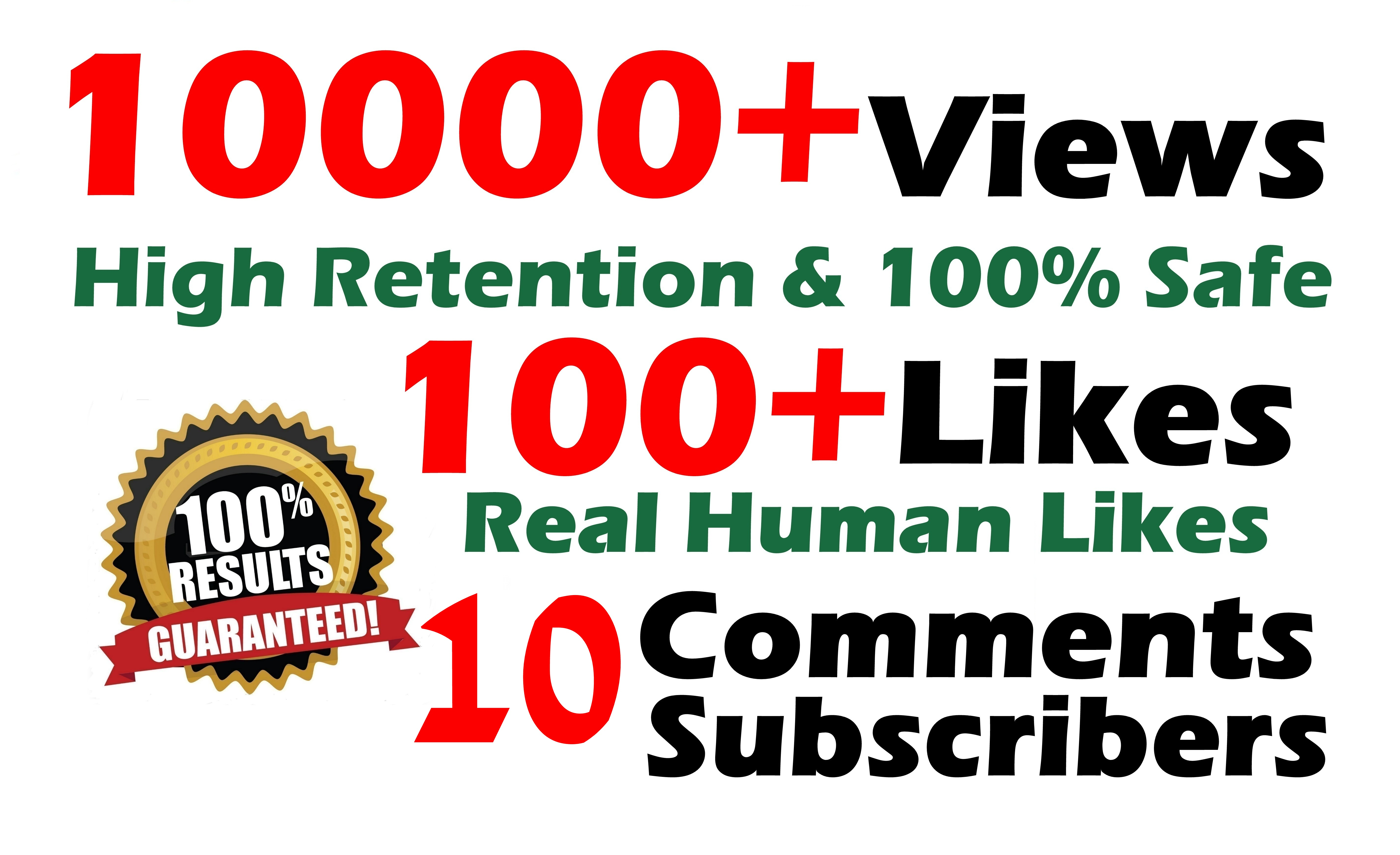 10000 GR views + 100+ Likes + 10 Real comments Youtube video SeoPromotion