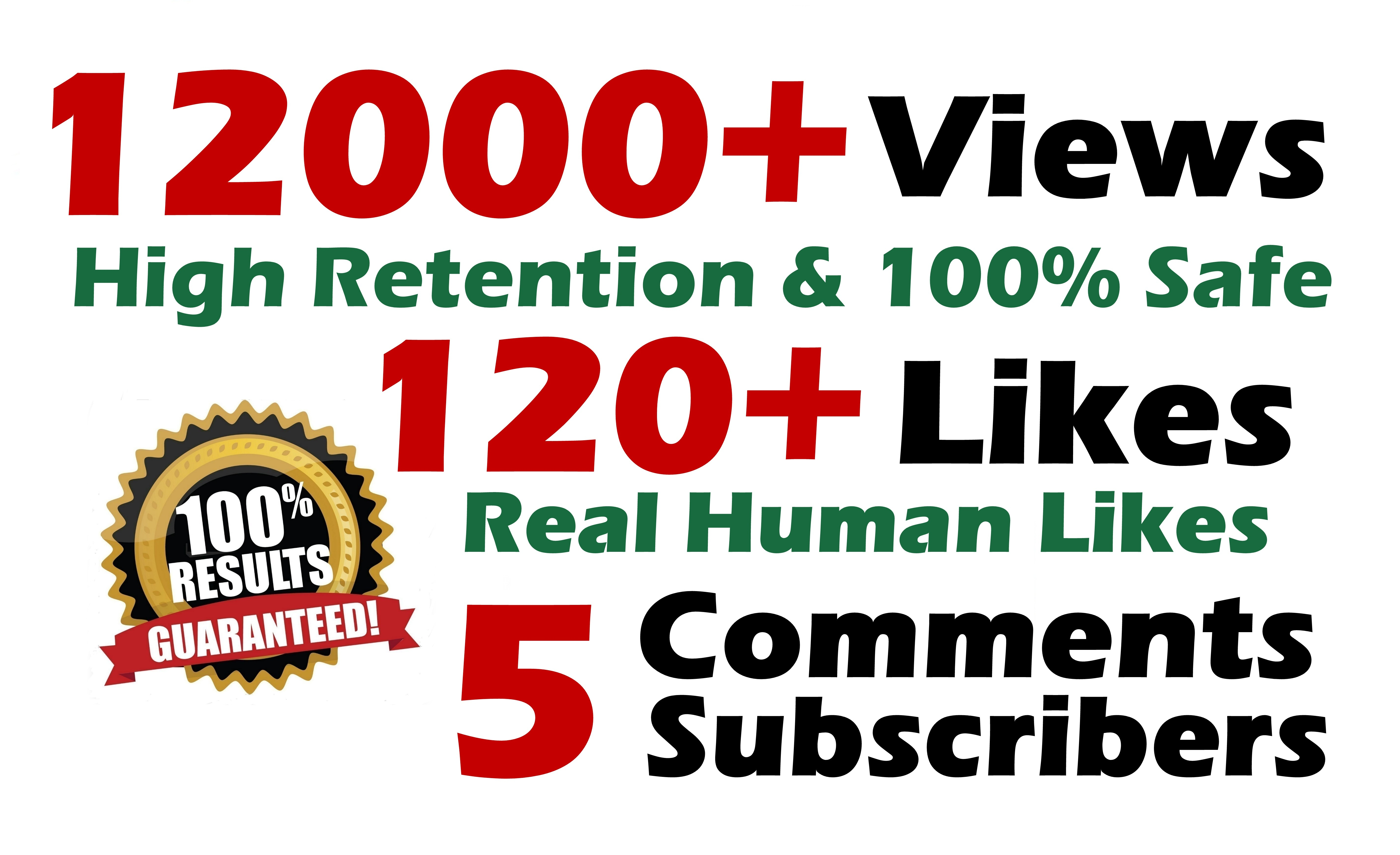 12000 GR views + 120 Likes + 5 Real comments Youtube video SeoPromotion