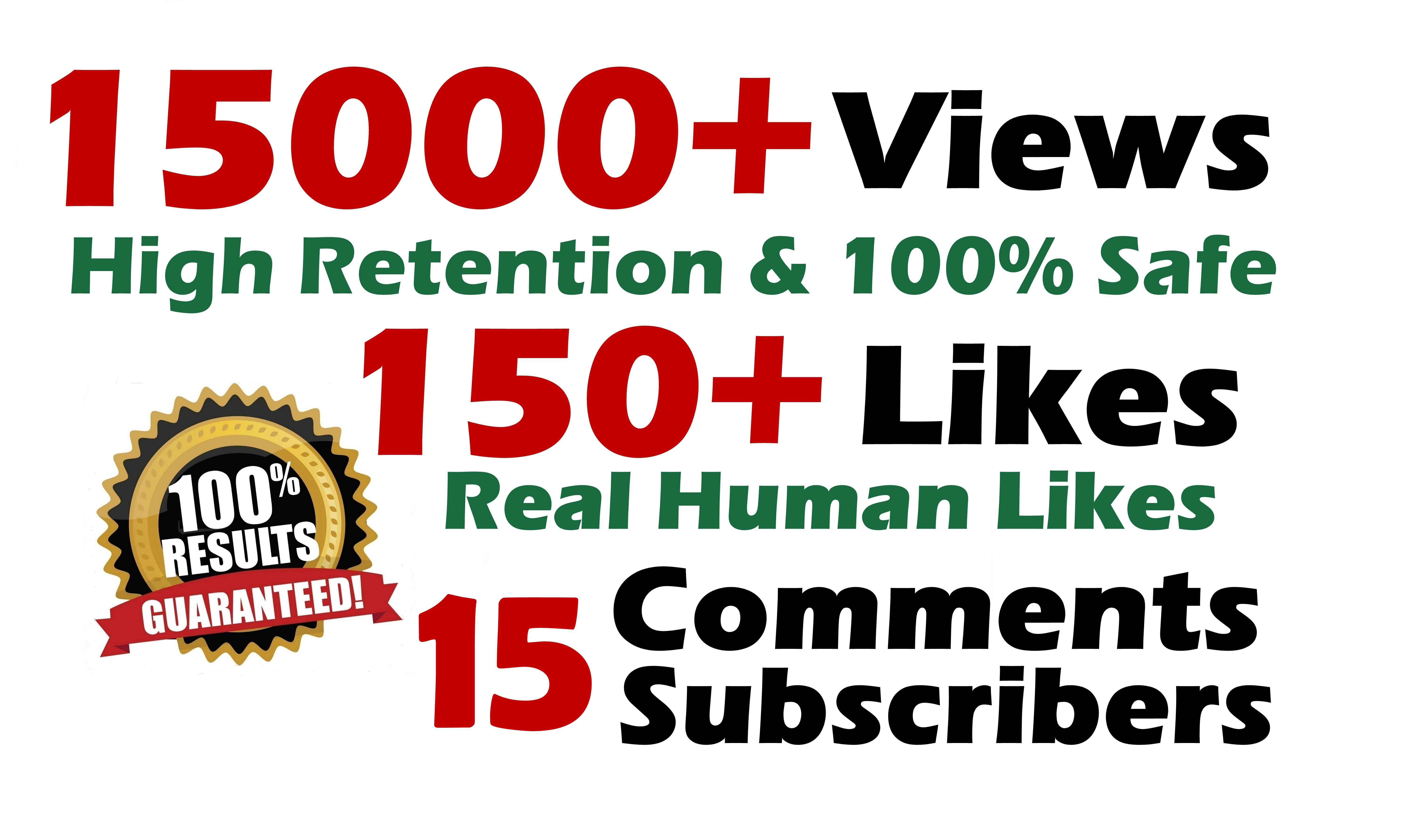 Youtube 15000+ Views and 150+ Likes with 15 Comments Splitable SeoPromotion