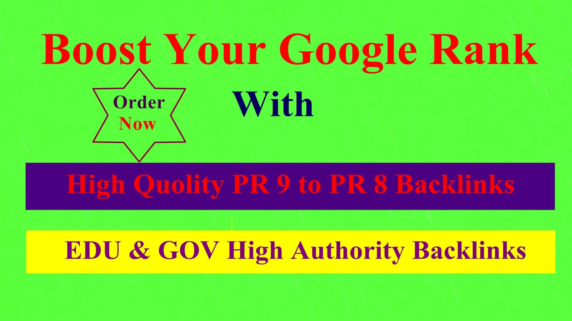 20 PR9 to PR 7 + 20 EDUGOV high quality backlinks