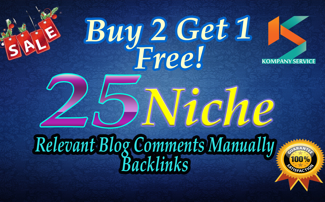 I will do 25 Niche relevant blog comments Manually backlinks