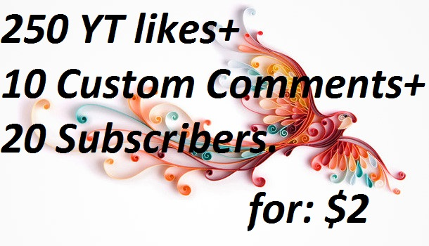250 YouTube likes+10 Custom comments +20 Non Drop  Subscribers