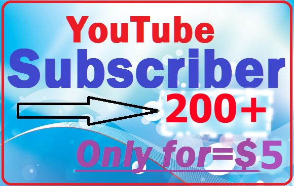Real Active YouTube 200 subscriber+Bonus 100 like very fast complete