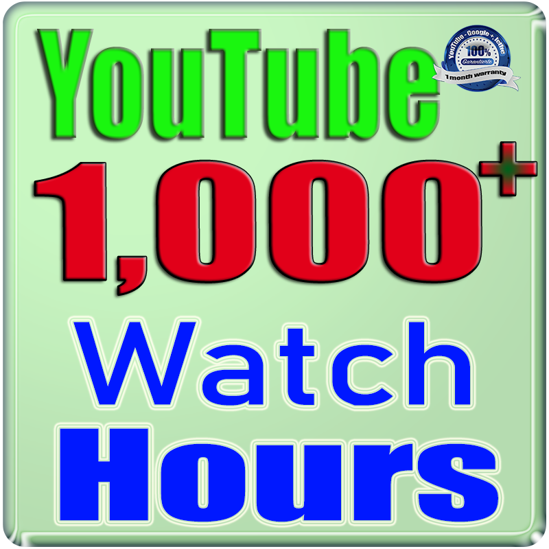 We Will Add 1000+ Watch Hours For Your YouTube Channe;l,  Safe Fast and Non Drop