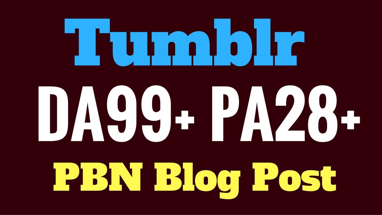 Rank Guarantee 10 Tumblr PBN Blog Post DA99+ PA28+