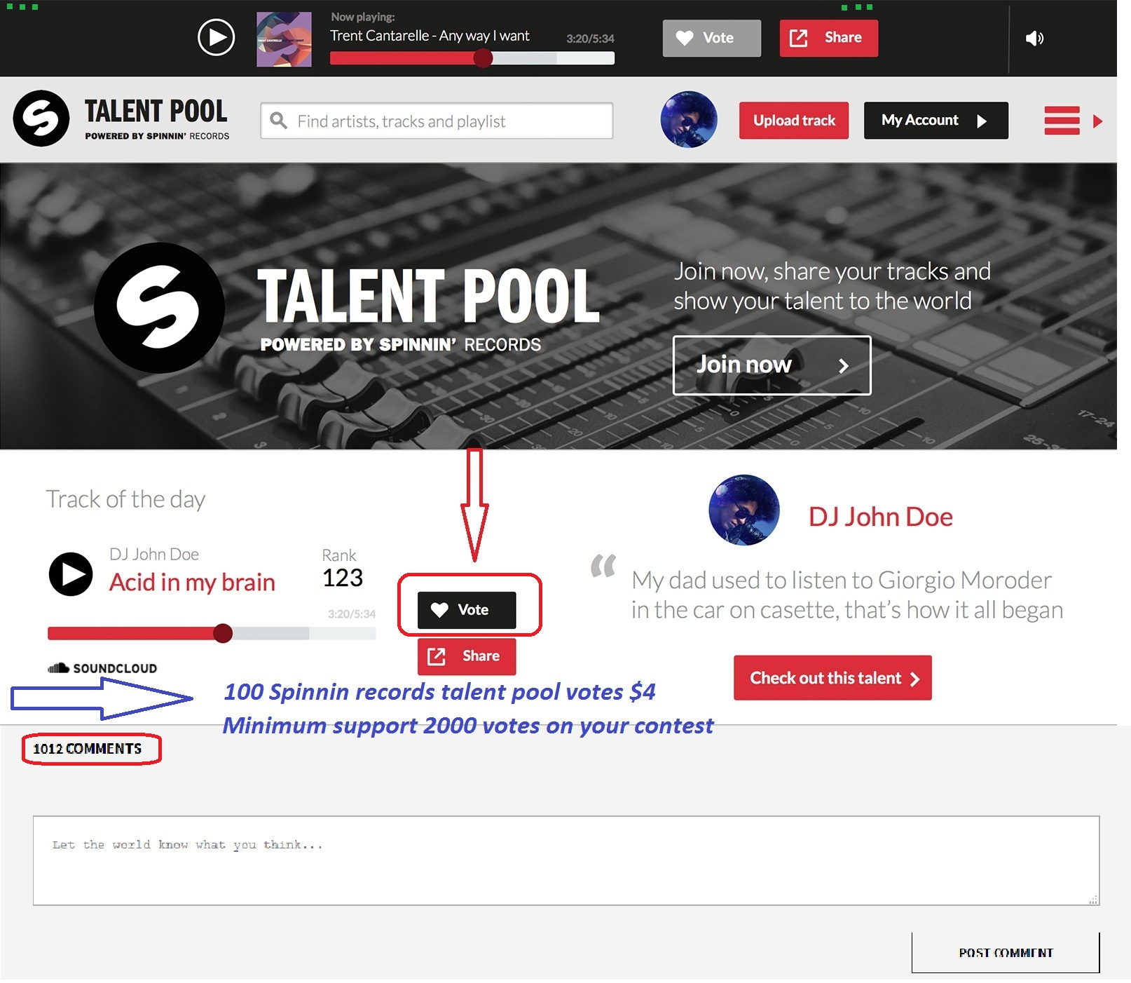 Bring 100 spinning records talent pool comments or votes on your spinning records talent pool contest