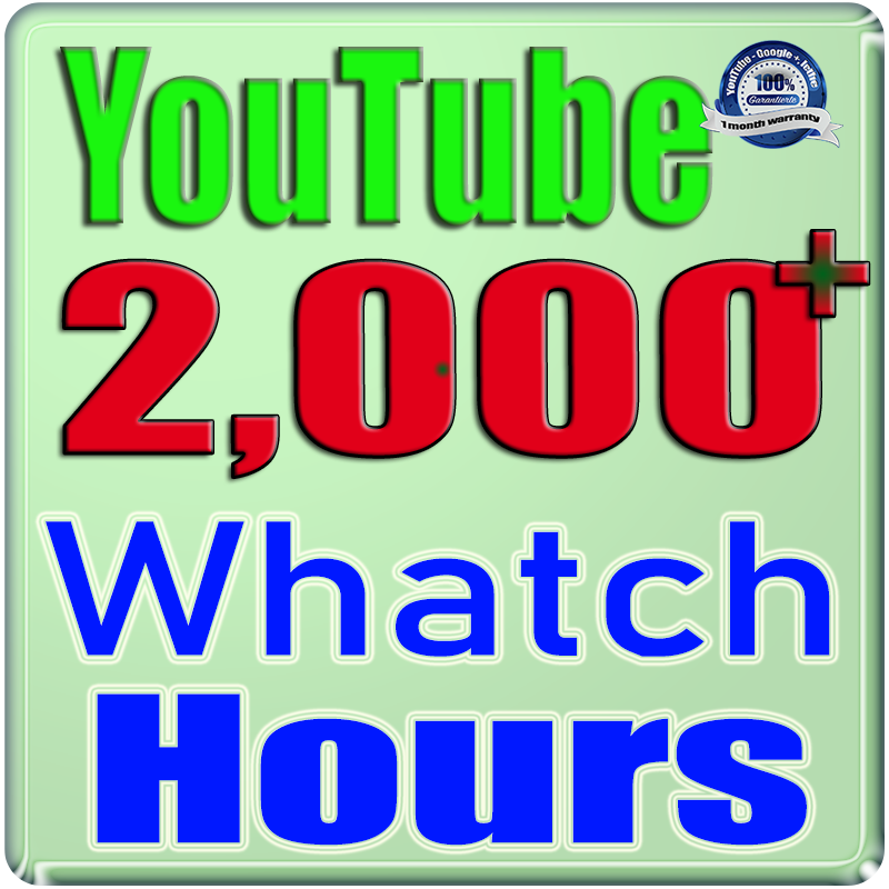 We Will Add 2000+ Watch Hours For Your YouTube Channel,  Safe Fast and Non Drop