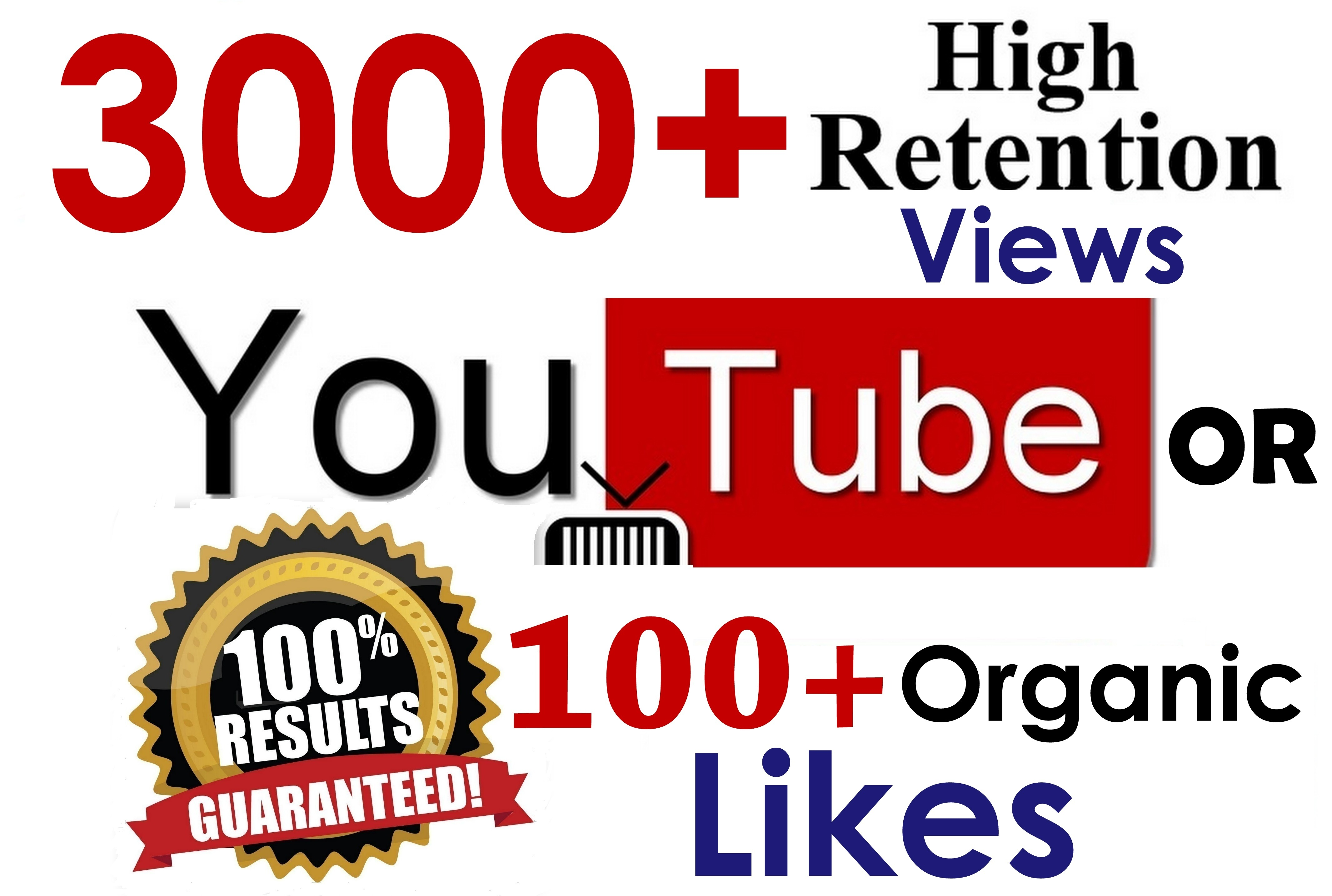 3000+ GR Views or 500+ Organic LlKES Youtbe Seopromotion