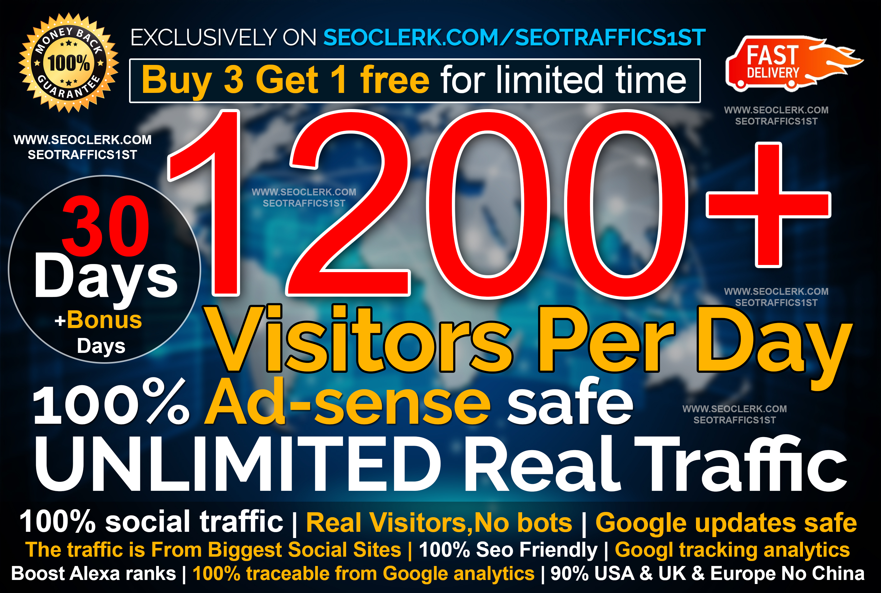 UNLIMITED Real website Traffic for 30 days