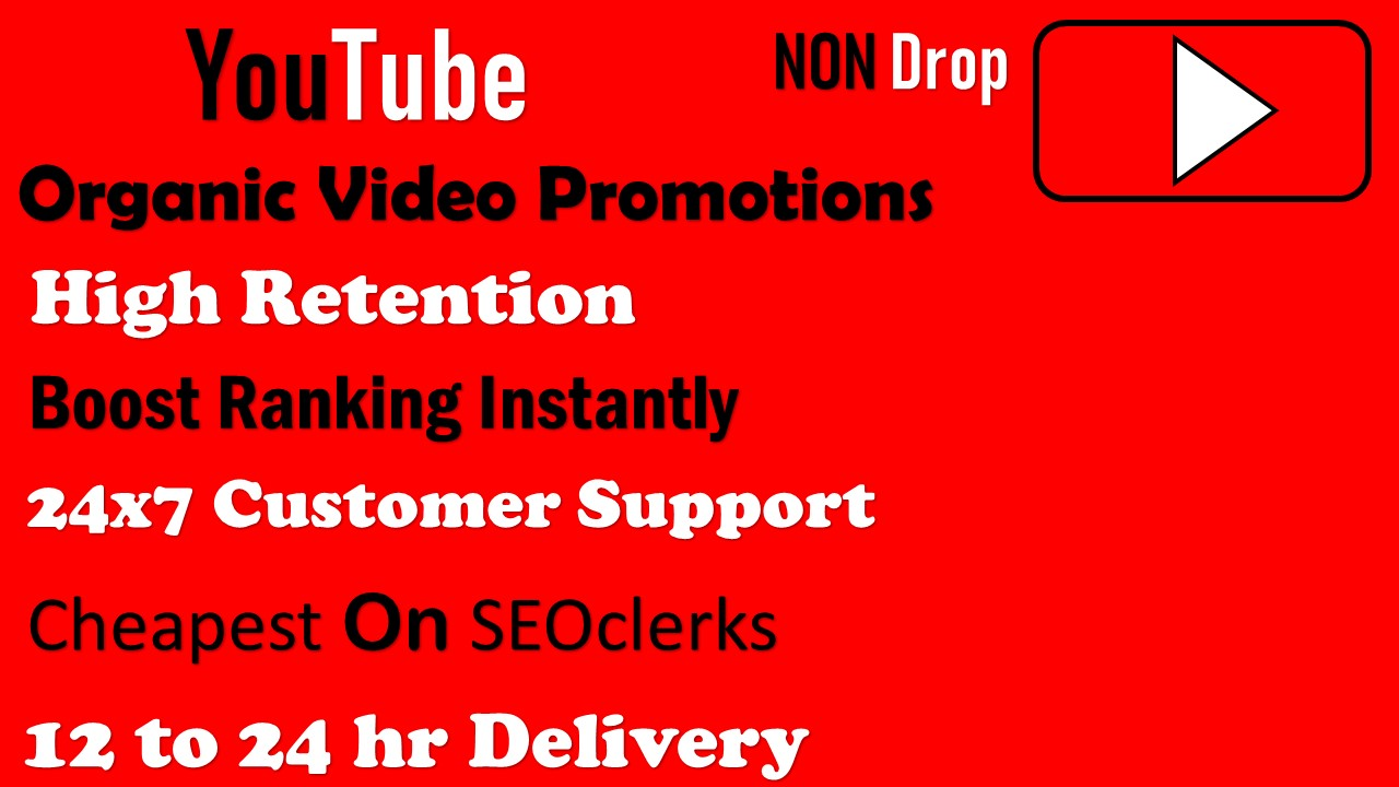 Real Organic YouTube Video Promotions. Instant Start NON DROP Lifetime Guarantee