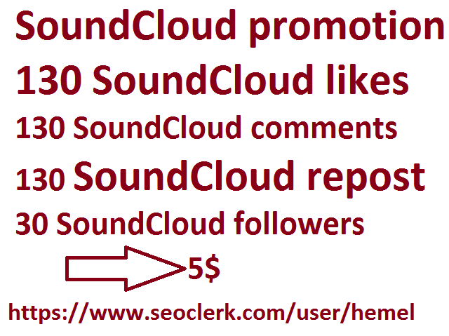Manually soundcloud promotion  130 soundcloud  likes+comments+repost with 30 followers