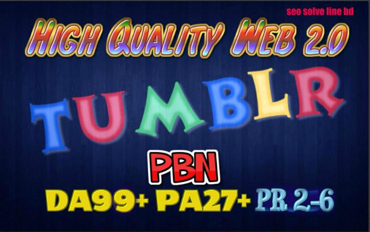20 Permanent Tumblr PBN Blog Posts DA99+ PA27+