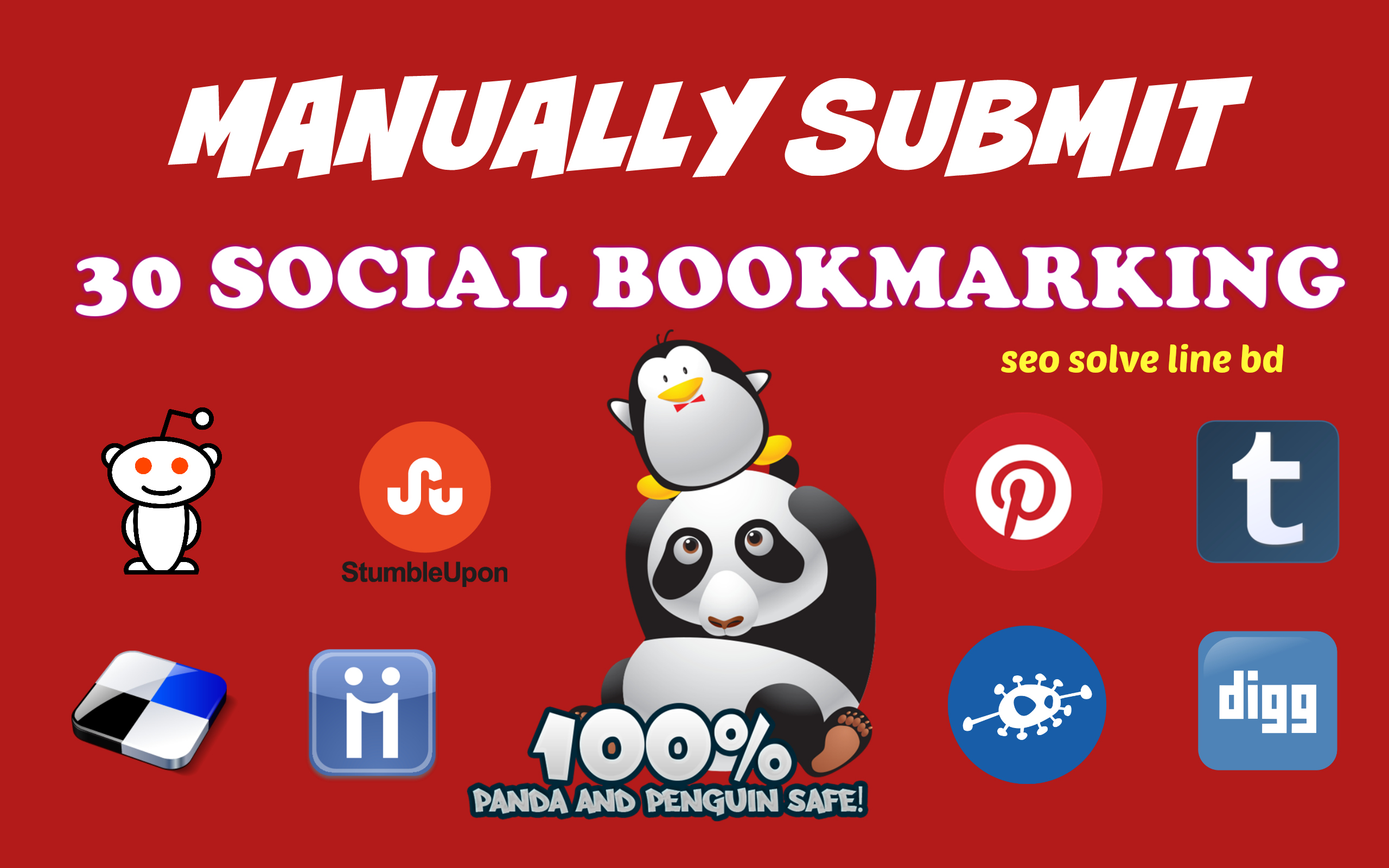 Manually Submit 30 Social Bookmarking Backlinks for you