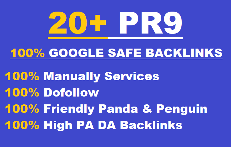 Manually 20+ Permanent Backlinks DA 80+ Pr9 High Quality SEO Domain Authority Permanent Backlinks