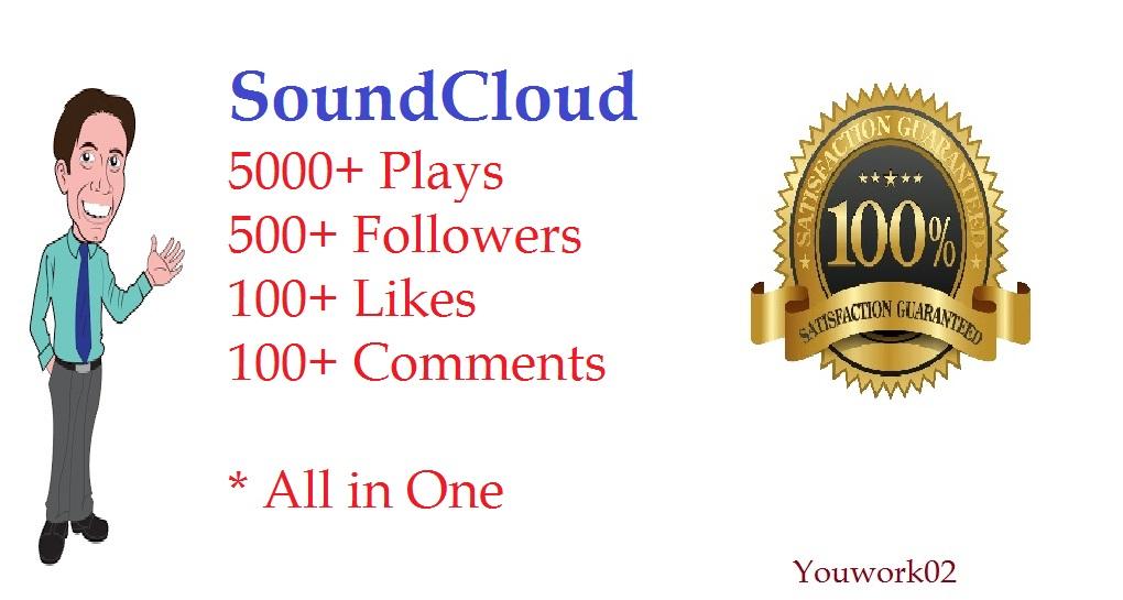 Add 5000 plays + 500 followers + 100 likes