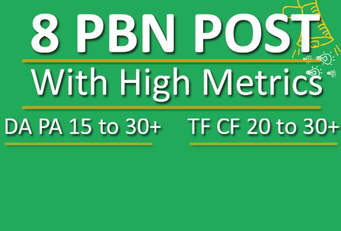 Do 8 PBN Blog Post With TF 20+ DA 30+