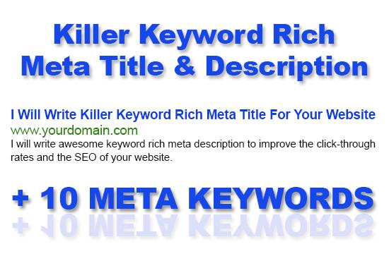 Write meta title,  description,  10 keywords for Website,  Blog,  Ecommerce SEO