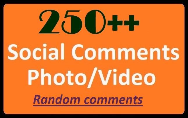 Instant Start, 250+ HQ Comments on Social Post, Videos Randomly