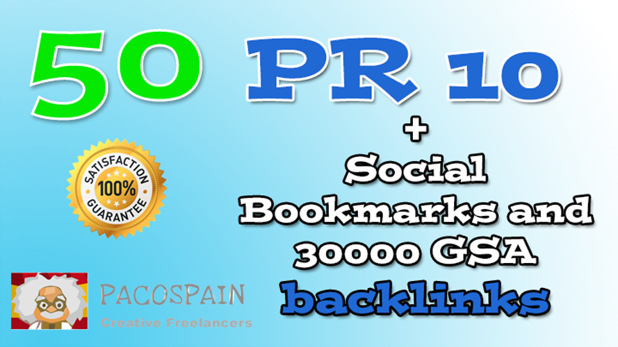 50 PR10 Social Bookmarks and 30000 GSA backlinks on tier 2 as extra