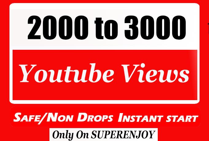 2000-3000 Quality Video Views fully safe with choice Extra service 1k, 2k, 5k, 10k, 20k, 200k, 1,000, 3000, 4000, 5000, 6000, 7000, 8000, 9000,10000, 20000 and 50,000, 50k, 100,000 100k