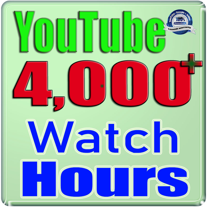 We Will Add 4000+ Watch Hours For Your YouTube Channe;l,  Safe Fast and Non Drop