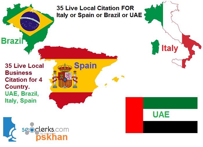Manually Create 35 Live Local Business Citations For Brazil or Italy or Spain Or UAE