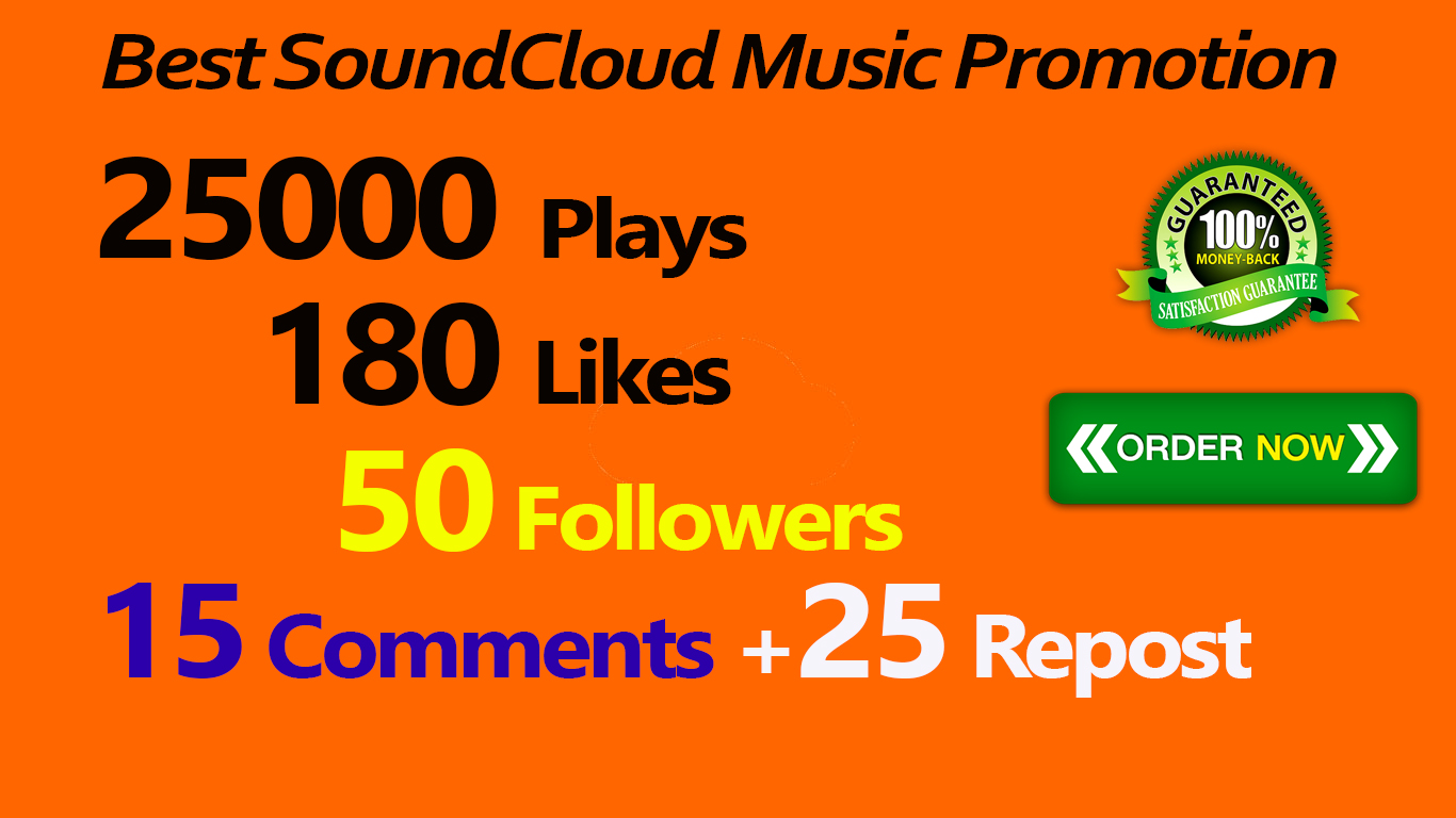 25,000 SoundCloud Plays 180 Likes 50 Followes 15 Comments 25 Repost