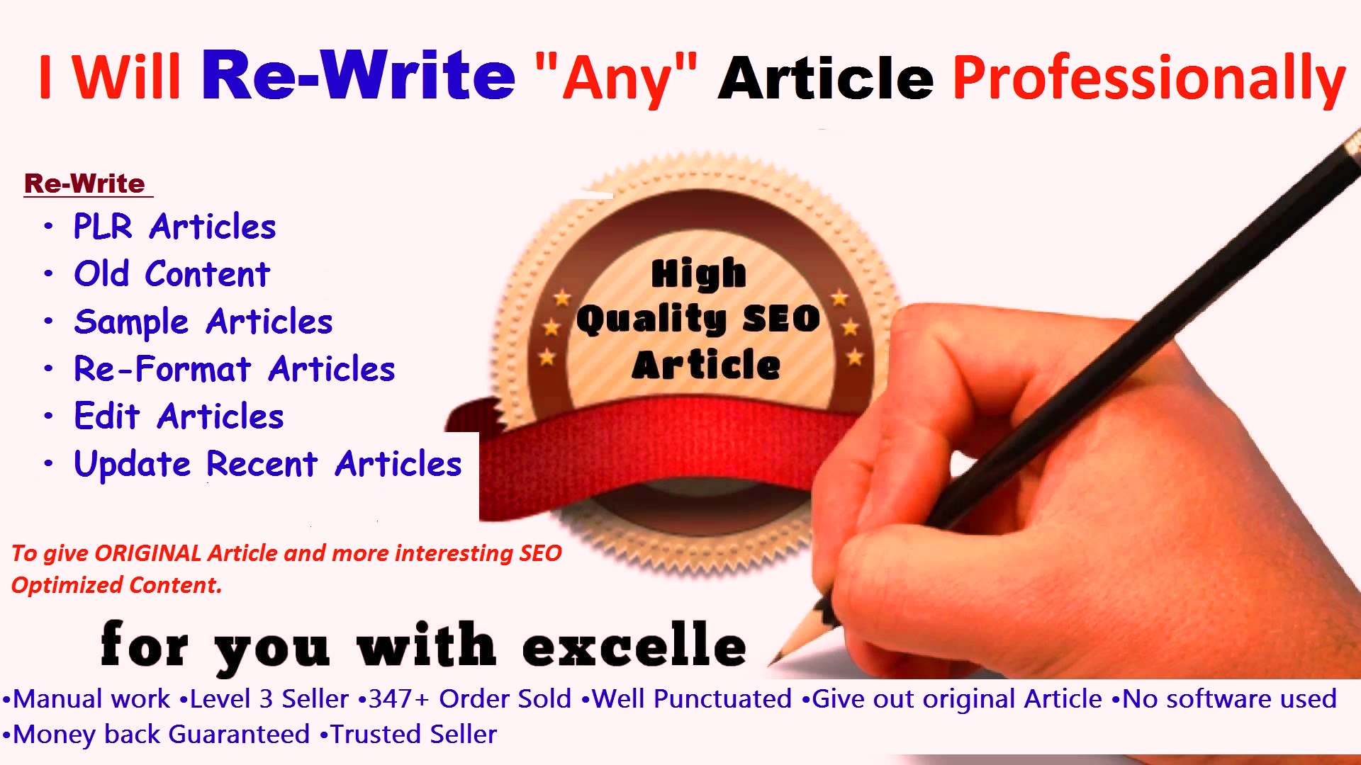 Professionally Re-Write PLR or Any Articles To give ORIGINAL Quality Article and SEO Optimized Contents BONUS included