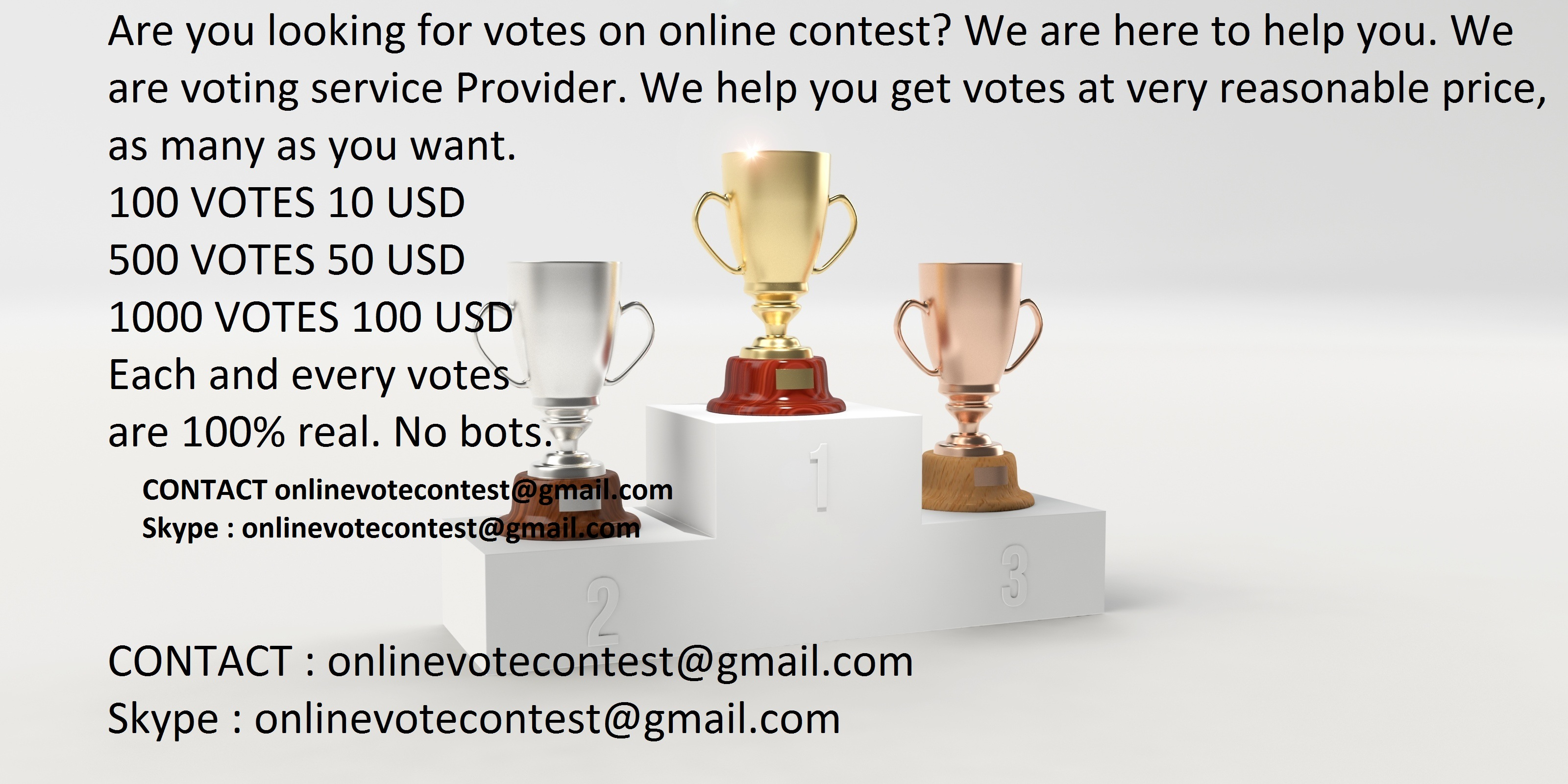 Manually get 100 Real online voting contest votes for