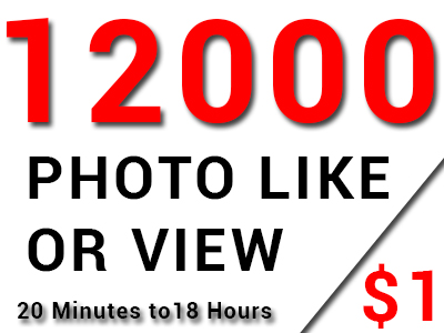 Super Fast 12000 High Quality Photo Like Or Views On Your Post