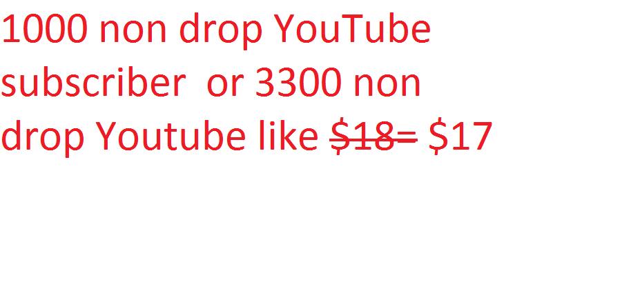 1000 non drop YouTube subscriber  or 3300 non drop Youtube likes